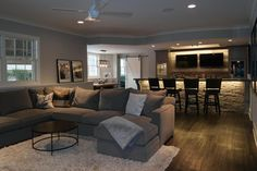 Promise mine will look like this someday. Promise mine will look like this someday. Related posts: If you like Fixer Upper you're gonna love this basement remodel we just finish… Basement bar ideas! Cozy Basement, Basement Layout, Basement House, Basement Makeover, Basement Flooring, Basement Renovations, Home Remodeling, Basement Bathroom, Basement Finishing