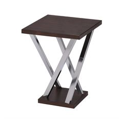 Walnut and Chrome Finish Side End Snack Table   Overstock™ Shopping - Great Deals on Coffee, Sofa & End Tables