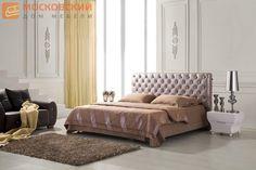 кровать, кровать двуспальная, кожаная кровать, интерьерная кровать, кровать со стразами