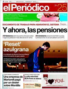 Los Titulares y Portadas de Noticias Destacadas Españolas del 25 de Abril de 2013 del Diario El Periódico ¿Que le parecio esta Portada de este Diario Español?