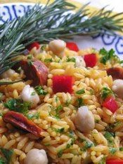 Rice with Chorizo Sausage and Garbanzo Beans- one of my favorite Puerto Rican dishes!