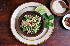 A classic Thai salad of ground chicken, chopped herbs, and chili flakes -- Larb Gai Healthy Salad Recipes, Rice Recipes, Great Recipes, Thai Recipes, Indian Recipes, Chicken Recipes, Favorite Recipes, Thai Chicken Salad, Lime Chicken