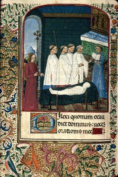 Cote Dijon - BM - ms. 2968 f. 106v Sujet Office funèbre Titre Heures à l'usage de Rome Datation vers 1480-1490