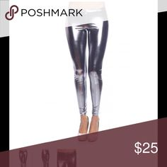 Shiny metallic stretch leggings The Terminator Leggings  Liquid Metallic Material  Shinny as Stainless  Full Length Skinny Pants  Waist Bands Make Luck Pants Leggings