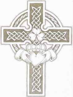 "claddagh cross | The ""Claddagh"" is a traditional Irish ring given which represents love (heart), loyalty (crown) and friendship (hands) ... >>> the addition of the cross in this would represent, faith >> I'd consider changing the 3 leaf clover to a 4 leaf clover, so this could then represent luck as well."