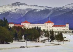 The White Mountain Resort Watercolor (c) 2014 Laura Duhaime Photography  This grand hotel is just as beautiful as it appears in this photograph. It is a favorite of past presidents, celebrities and other famous people. This spectacular hotel is located in the White Mountains of New Hampshire in Bretton Woods. This is a National Historical Landmark that was opened in 1902. This hotel was built in the Spanish Renaissance influence of architecture.