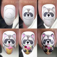 Funky Nail Art, Funky Nails, Cute Nail Art, Gel Nail Art, Love Nails, Animal Nail Designs, Animal Nail Art, Disney Acrylic Nails, Disney Nails
