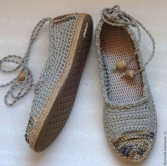 Обувь ручной работы. Ярмарка Мастеров - ручная работа. Купить Балетки уличные Лето в разгаре, бохо, серый, лен. Handmade.