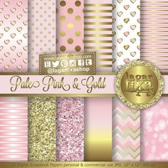 Gold Pale Pink Digital Paper Background Patterns Chevron Polka dots hearts bokeh ombre Scrapbooking Blog invitations thank you cards