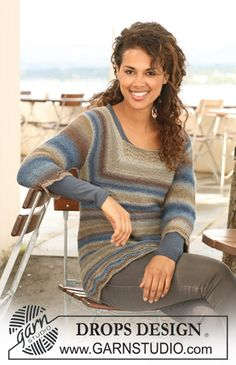 """Knitted DROPS tunic with ¾ sleeves in garter st and wavy pattern in """"Delight"""". Size S - XXL."""