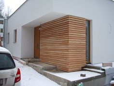 Wooden facade of Siberian larch, Usti nad Labem House Cladding, Timber Cladding, Facade House, House Front Design, Modern House Design, Architecture Plan, Architecture Details, Modern Exterior, Exterior Design