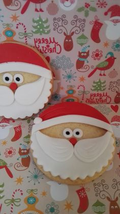 Galletas papa Noel #arapostres #galletasfondant #galletasNavidad