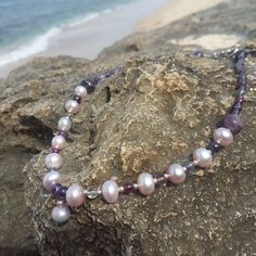 Pink Pearl Necklace with Fluorite, Garnet, Amethyst and Silver Beads Sculpting, Beaded Bracelets, Trending Outfits, Unique Jewelry, Handmade Gifts, Etsy, Vintage, Kid Craft Gifts, Sculpture