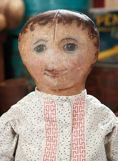 American Oil-Painted Cloth Folk Doll with Endearing Smile. http://Theriaults.com