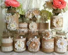 10x natural color lace and burlap covered mason jar vases, wedding, bridal shower, baby shower decoration                                                                                                                                                                                 Más