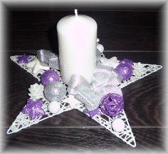 * Svícen vánoční na bílé glitter hvězdě 25cm * / Zboží prodejce nikolkleckova | Fler.cz Christmas Arrangements, Christmas Decorations, Pillar Candles, Floor Lamp, Advent, Centerpieces, Purple, Candles, Xmas