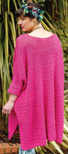 """Oversized Crochet Dress - Free Pattern at knitted-patterns.com Bust measures 73""""."""