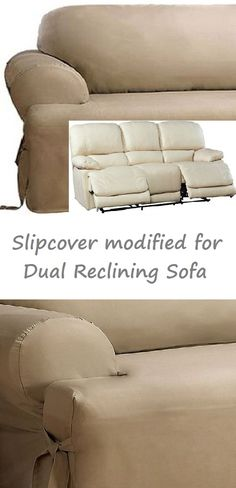Dual Reclining Sofa Slipcover T Cushion Cotton Taupe Sure Fit Couch