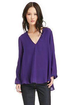 Lavender Brown Silk Long Sleeve Blouse in purple