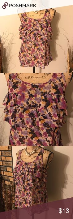 Express Ruffle Blouse Express Ruffle Blouse size small. It is see through you would need to wear a Cami under it. But this flowy top is beautiful from the color to the ruffles to the flow of it! Express Tops Tank Tops