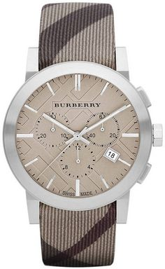 Burberry ~ Mens Chronograph Watch with Smoke Check Strap