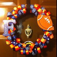 My version of the Florida Gators ribbon wreath. Now proudly hanging on my door. Go Gators!