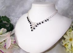 Jet Black Crystal Chainmaille Necklace