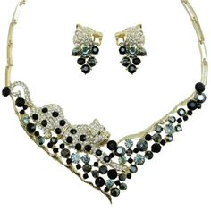 """Ever Faith Panther Leopard Necklace Earring Set Austrian Crystal Black Animal Ever Faith. $39.95. Pieced stud and clip on earrings.. chain size 17.32"""" attachment size 3.54"""" by 5.91"""" earring size 1.18"""" by 0.71"""". It is so fabulous, when you wear it, nobody will miss the opportunity to see it."""