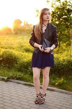 leather jacket with navy dress