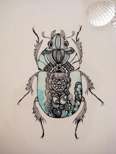 Beetle Series: Dors Beetle Original Illustration (Turquoise). £20.00, via Etsy.
