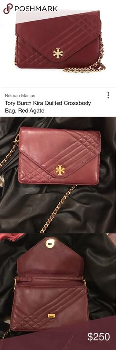"""Tory Burch quilted Kira Not new. Great bag. Red agate with gold hardware. Normal wear. Scuff on hardware. Very nice bag.Tory Burch lamb leather crossbody with quilted topstitching. Light golden hardware. Woven chain crossbody strap. Fold-over flap top with signature double-""""T"""" turnlock closure. Exterior back zip pocket. Logo jacquard lining; inside, one zip pocket. Approx. 6.9""""H x 9.5""""W x 2""""D. Tory Burch Bags Crossbody Bags"""