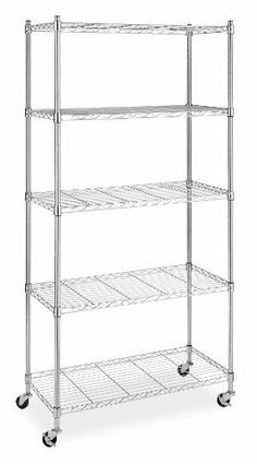 Whitmor 6056-3528 Supreme Chrome 5-Tier Shelving Unit with Wheels by Whitmor. $79.47. 2-locking wheels. Holds 200 pounds. Chromed steel frame. Whitmor's Supreme 5-Tier Chrome shelving unit with wheels is ideal for kitchen, hobby room, closet, bedrooms or anywhere you need extra storage. This Supreme unit features a durable chromed steel frame, five adjustable shelves, and heavy duty wheels.  Two of the wheels lock in place for stability. The cart has an overall weight capac...