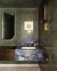 "Louisa Falkenberg on Instagram: ""The Powder Room 🖤Love the design @flackstudio_ Photo @smartanson Built by @berrowprojects Artist @hiromitango / @sullivanstrumpf . . . . .…"" Dream Bathrooms, Beautiful Bathrooms, Modern Bathroom, Flack Studio, Boffi, Toilet Design, Bathroom Toilets, Modern Country, Best Interior"
