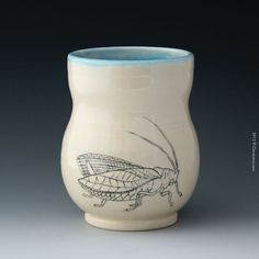 White Katydid Tumbler for hot or cold drinks