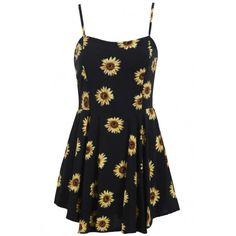 Sunflower Print Spaghetti Stripe Mini Dress (233.320 IDR) ❤ liked on Polyvore featuring dresses, vestidos, dresses/skirts, robes, black, short dresses, black dress, striped dress, black a line dress and sunflower dress