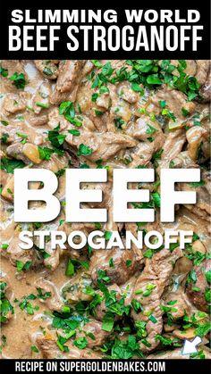 Beef Stroganoff Sauce, Creamy Beef Stroganoff Recipe, Healthy Beef Stroganoff, Slimming World Beef Stroganoff, Easy Yorkshire Pudding Recipe, Beef Strips, Delicious Burgers, Beef Recipes For Dinner, Recipes From Heaven