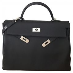 Anthracite Leather Handbag Kelly HERMÈS (€12.500) ❤ liked on Polyvore featuring bags, handbags, hermes bag, handbags purses, man bag, hermes purse and hermès