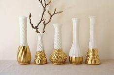 Gold Dipped Milk Glass Vase - Set of 5 vases - vintage
