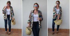 Un look con kimono, capazo y maxi pendientes, ¡las tendencias del momento!