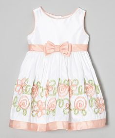 Loving this Coral & White Ribbon Flower Dress - Infant, Toddler & Girls on #zulily! #zulilyfinds
