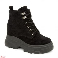 Ghete cu Platforma Dama SJN231 All Black Mei Timberland Boots, All Black, Hiking Boots, Shoes, Fashion, Moda, Zapatos, Shoes Outlet, La Mode