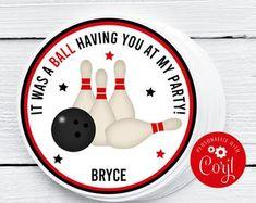 Bowling Pin Party Favor Gift Tags Bowling Birthday Party | Etsy Bowling Party Favors, Bowling Party Invitations, Party Favor Tags, Gift Tags, Birthday Favors, Birthday Ideas, Party Names, Summer Pool Party, Bowling Pins