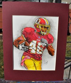 Watercolor Fine Art of #Redskins' Alfred Morris by SportsArtBySummo on Etsy