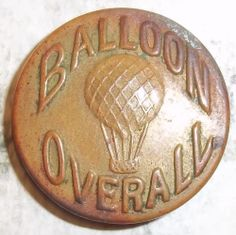 Balloon Overall Hot Air Balloon Large Brass Workclothes Button