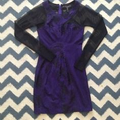 BCBG MAXAZRIA Purple Sheer Dress This is the ultimate 007 Bond Girl Dress. This BCBG cocktail dress will certainly spin some heads! Worn once and needs to be sent off to someone with a lot more adventures on her horizon. Size: 2/ BCBG MAXAZRIA/ Purple with Black sheer and lace/ Back Zip/ No Trades/ No PayPal. LOWEST PRICE MARKED ON CLEARANCE ITEMS, NO DISCOUNTS ON BUNDLES. BCBGMaxAzria Dresses