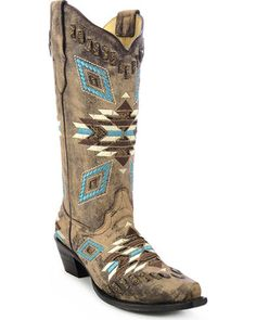 Corral Distressed Aztec Pattern Cowgirl Boot - Snip Toe  #cowgirl #countrygirl #boots #cowgirlboots #cowgirlshoes  http://www.islandcowgirl.com