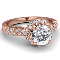 0.90 Ct Rope Style Round Cut Halo Diamond Engagement Ring Pave Set GIA 14K Rose Gold