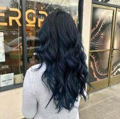 Dark Fall Hair Colors, Hair Color For Black Hair, Cool Hair Color, Hair Colours, Blue Brown Hair, Dark Hair With Blue, Black Hair Blue Tint, Black Cherry Hair, Dark Brown