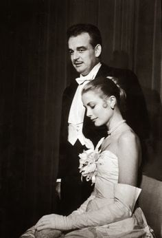 Grace Kelly and Prince Rainier at the Waldorf-Astoria Hotel in New York, the day after announcing their engagement, January 1956