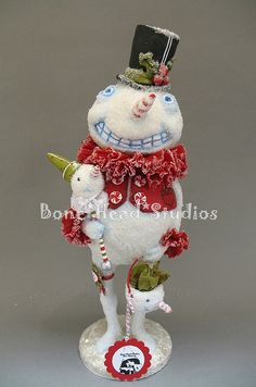 Frostie no. 2 by Flora Thompson of Bone Head Studios. Christmas Clay, Christmas Snowman, All Things Christmas, Winter Christmas, Christmas Time, Vintage Christmas, Christmas Crafts, Christmas Decorations, Christmas Ornaments